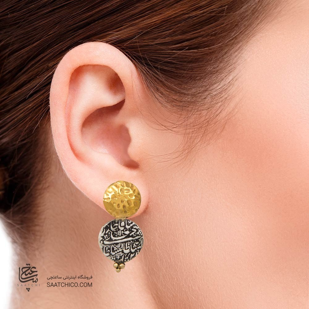 گوشواره طلا زنانه با سکه نقره کد xe219