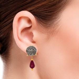 گوشواره طلا زنانه با سکه نقره و سنگ مرجان کد xe220