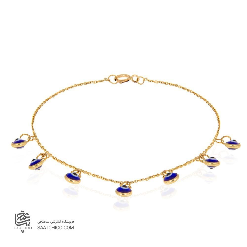 دستبند طلا کودک با سنگ چشم نظر کد XB880