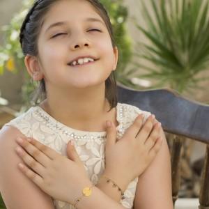 دستبند طلا کودک با سنگ چشم نظر کد KB376