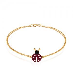 دستبند طلا کودک طرح کفشدوزک کد KB348