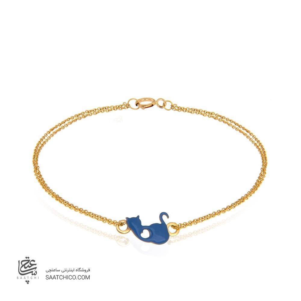 دستبند طلا کودک طرح گربه کد kb349