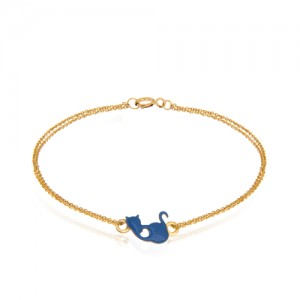 دستبند طلا کودک طرح گربه کد xb882