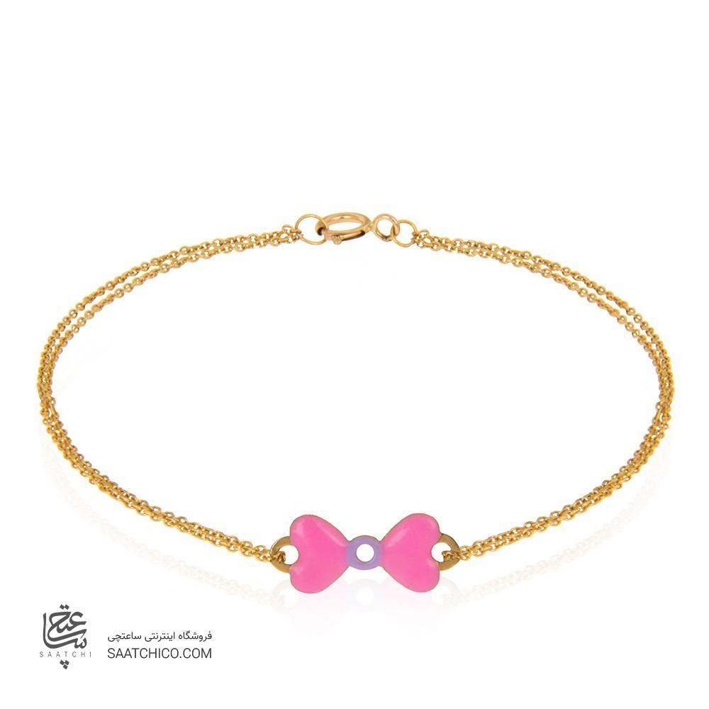 دستبند طلا کودک طرح پاپیون کد kb350
