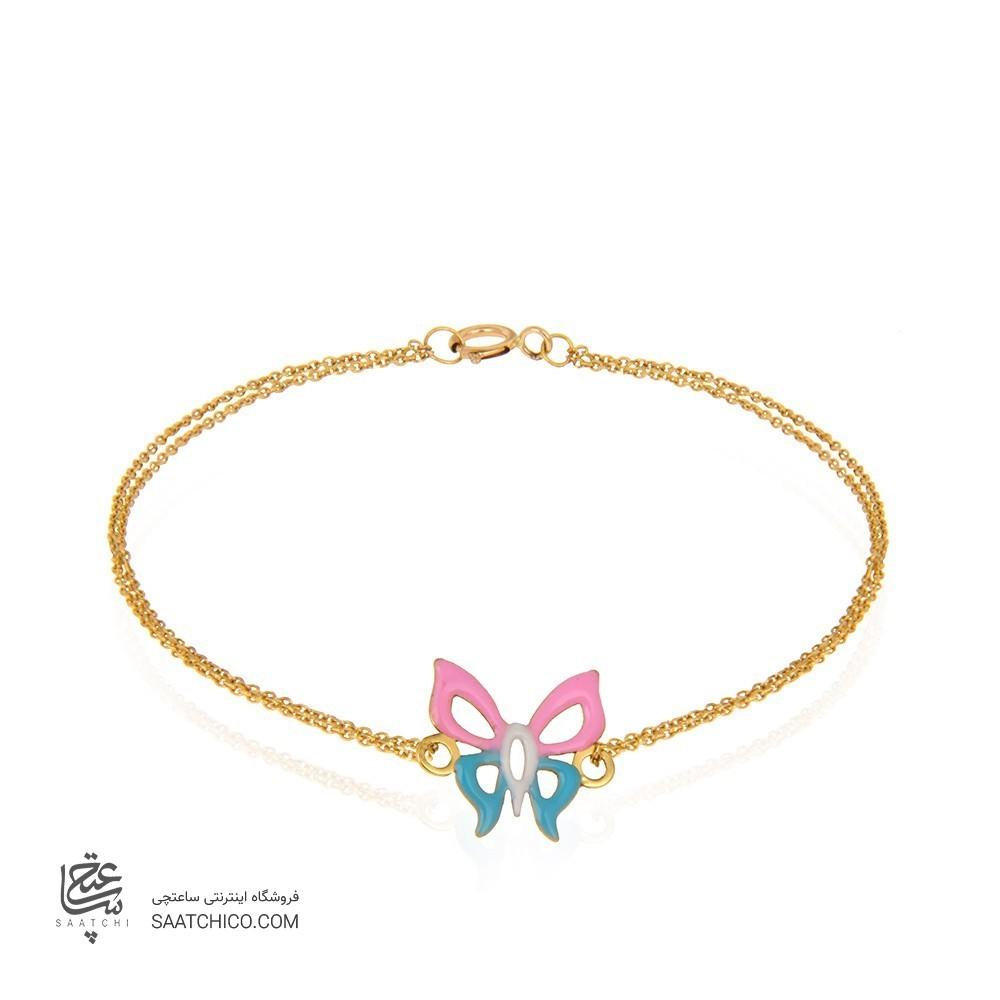 دستبند طلا کودک طرح پروانه کد xb884