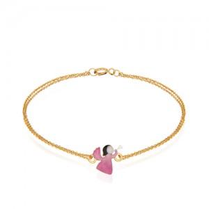 دستبند طلا کودک طرح فرشته کد kb352