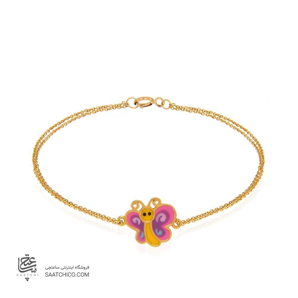 دستبند طلا کودک طرح پروانه کد KB353