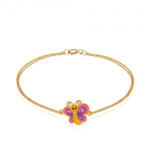 دستبند طلا کودک طرح پروانه کد xb886
