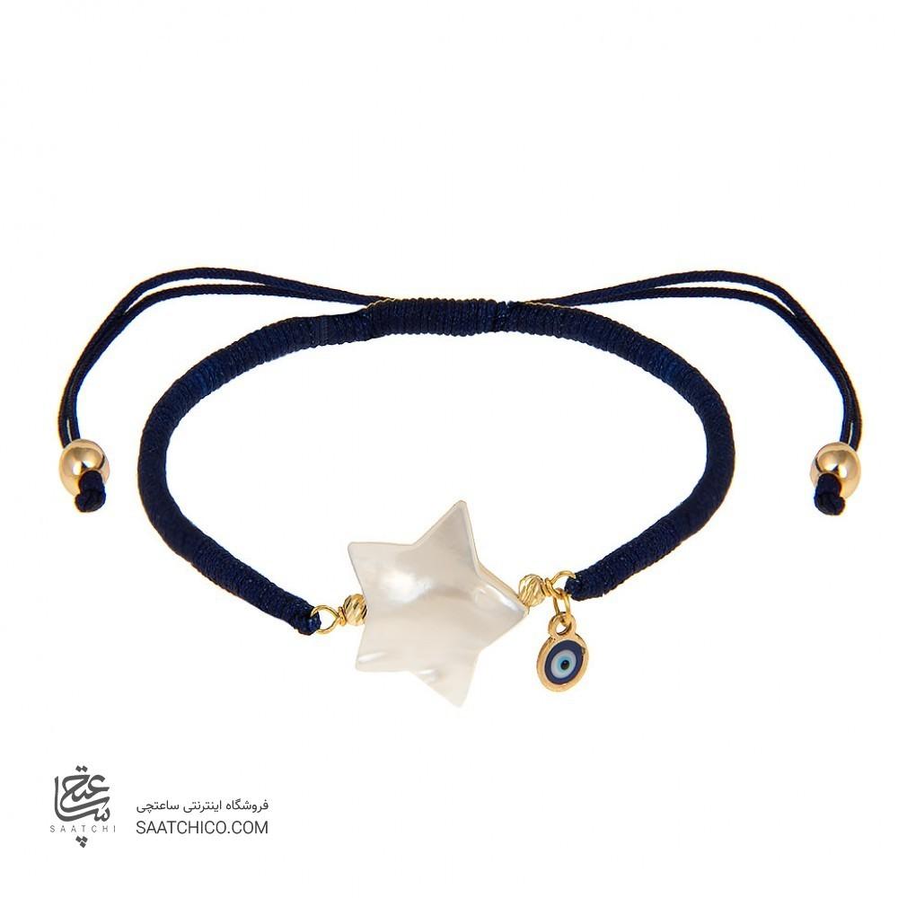 دستبند طلا زنانه با صدف و پولک چشم نظر کد xb891