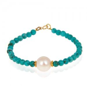 دستبند طلا زنانه با مروارید کد xb894