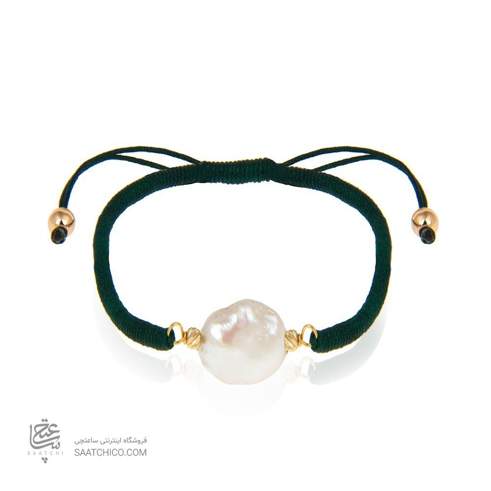 دستبند طلا زنانه با مروارید باروک کد xb896