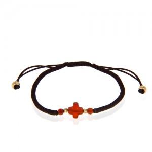 دستبند طلا زنانه با سنگ عقیق کد xb900