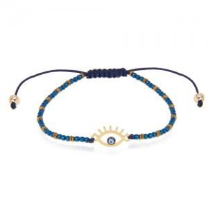 دستبند سنگ با پلاک طلا طرح چشم  نظر کد xb901