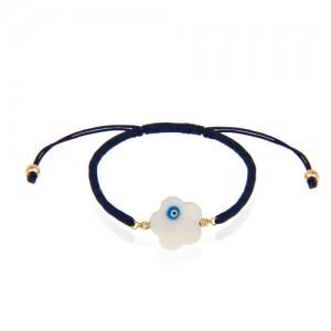دستبند طلا زنانه با صدف چشم نظر کد xb902