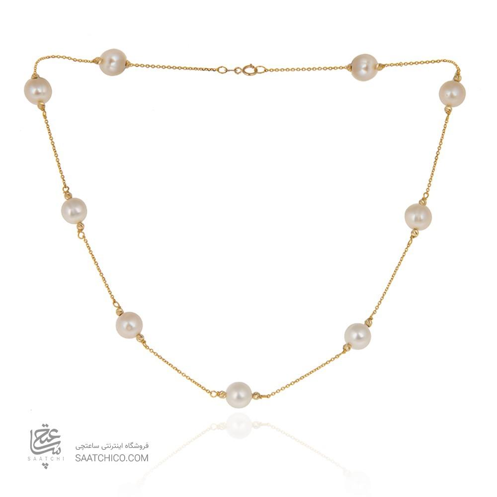 گردنبند طلا زنانه با مروارید و گوی طلا کد xn132