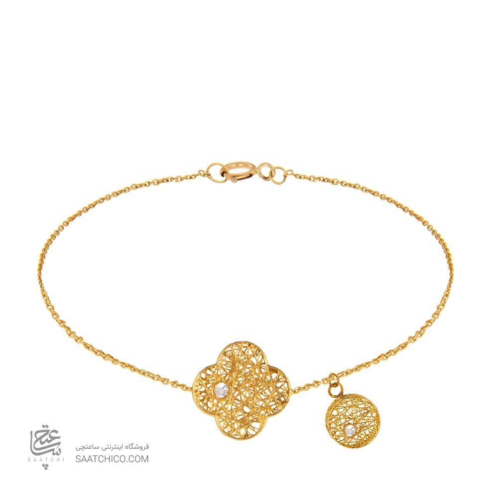 دستبند طلا زنانه طرح چهار پر ونکلیف با آویز دایره و نگین کد cb336