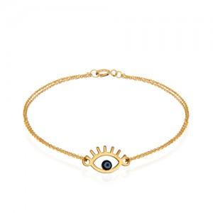 دستبند طلا زنانه طرح چشم نظر کد cb337