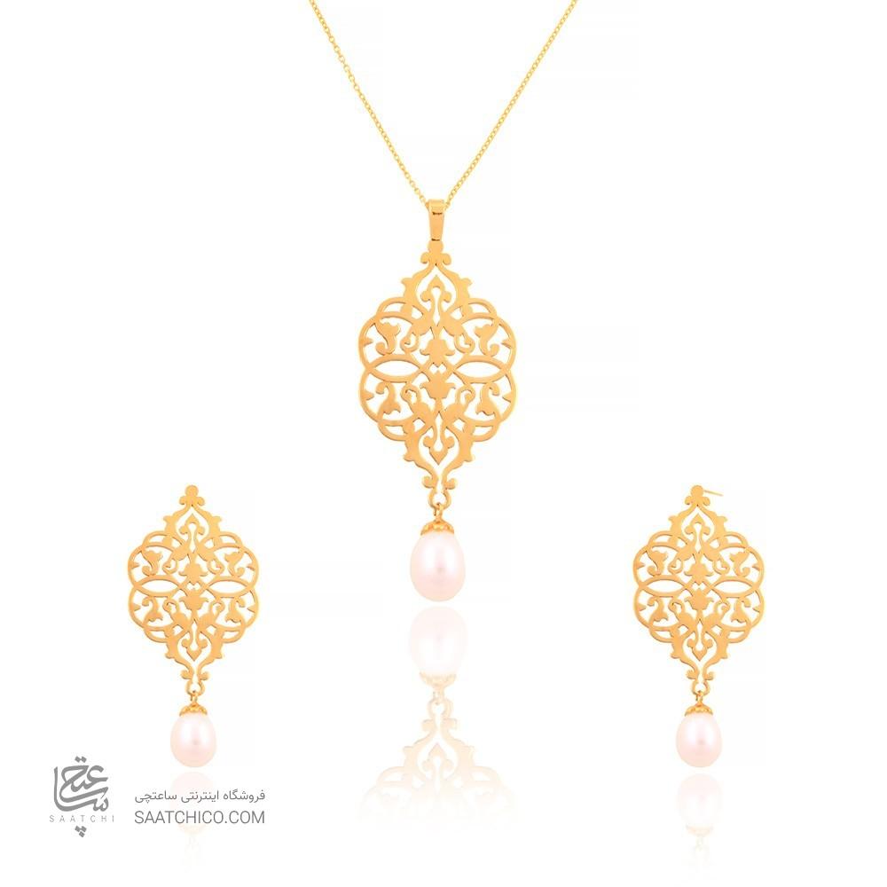 نیم ست طلا زنانه طرح اسلیمی با مروارید کد cs309