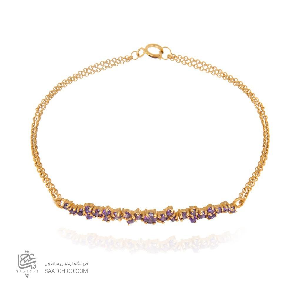 دستبند طلا زنانه با نگین به رنگ آماتیس  کد CB324C