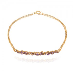 دستبند طلا زنانه با نگین کد cb324c