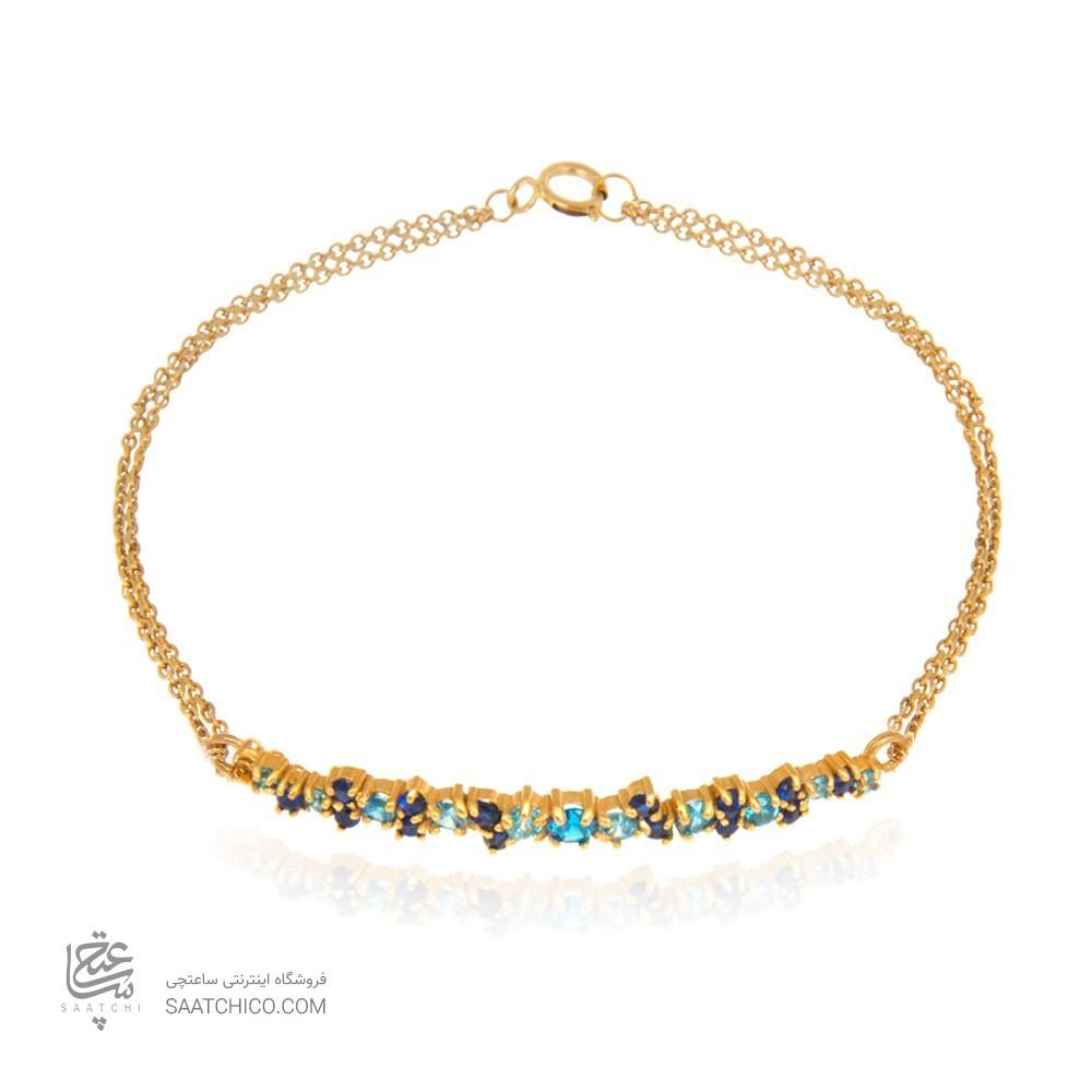 دستبند طلا زنانه با نگین به رنگ یاقوت کبود کد cb324d