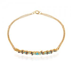 دستبند طلا زنانه مولتی کالر با نگین کد cb324d
