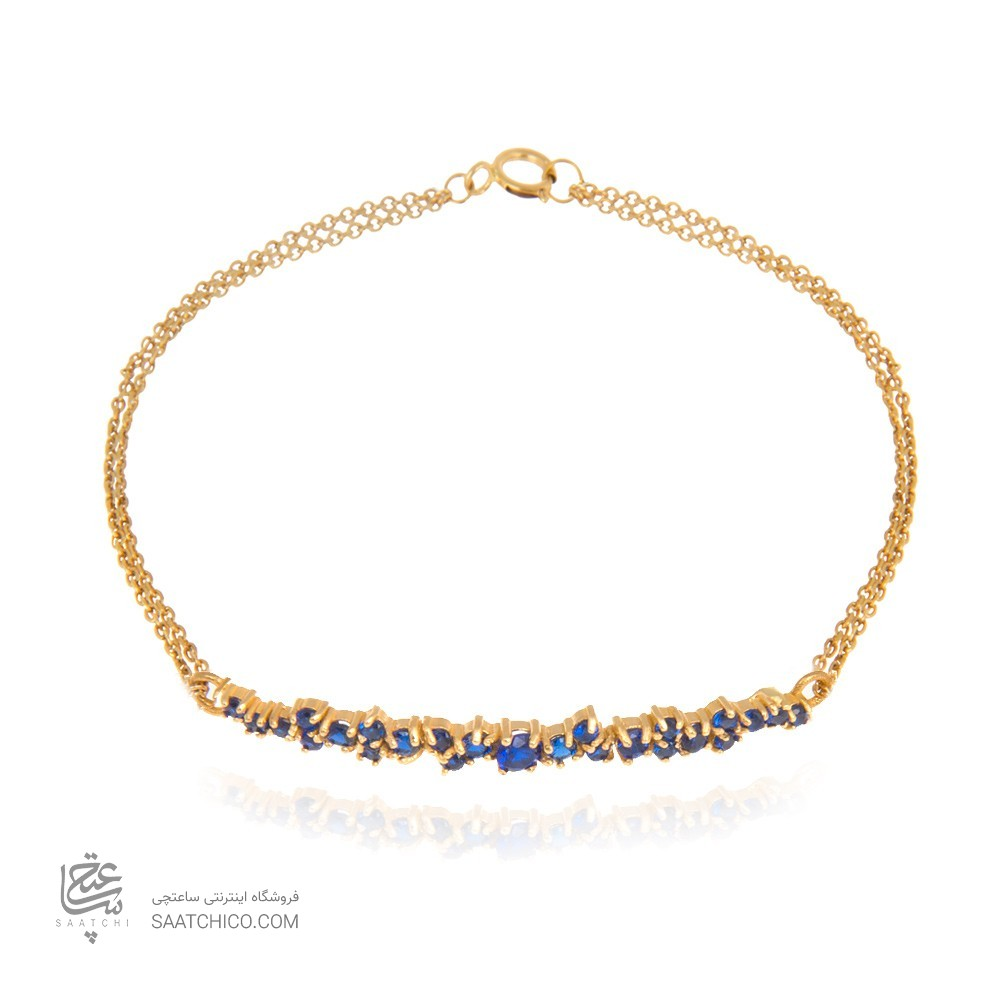 دستبند طلا زنانه با نگین به رنک آبی کبود کد cb324e