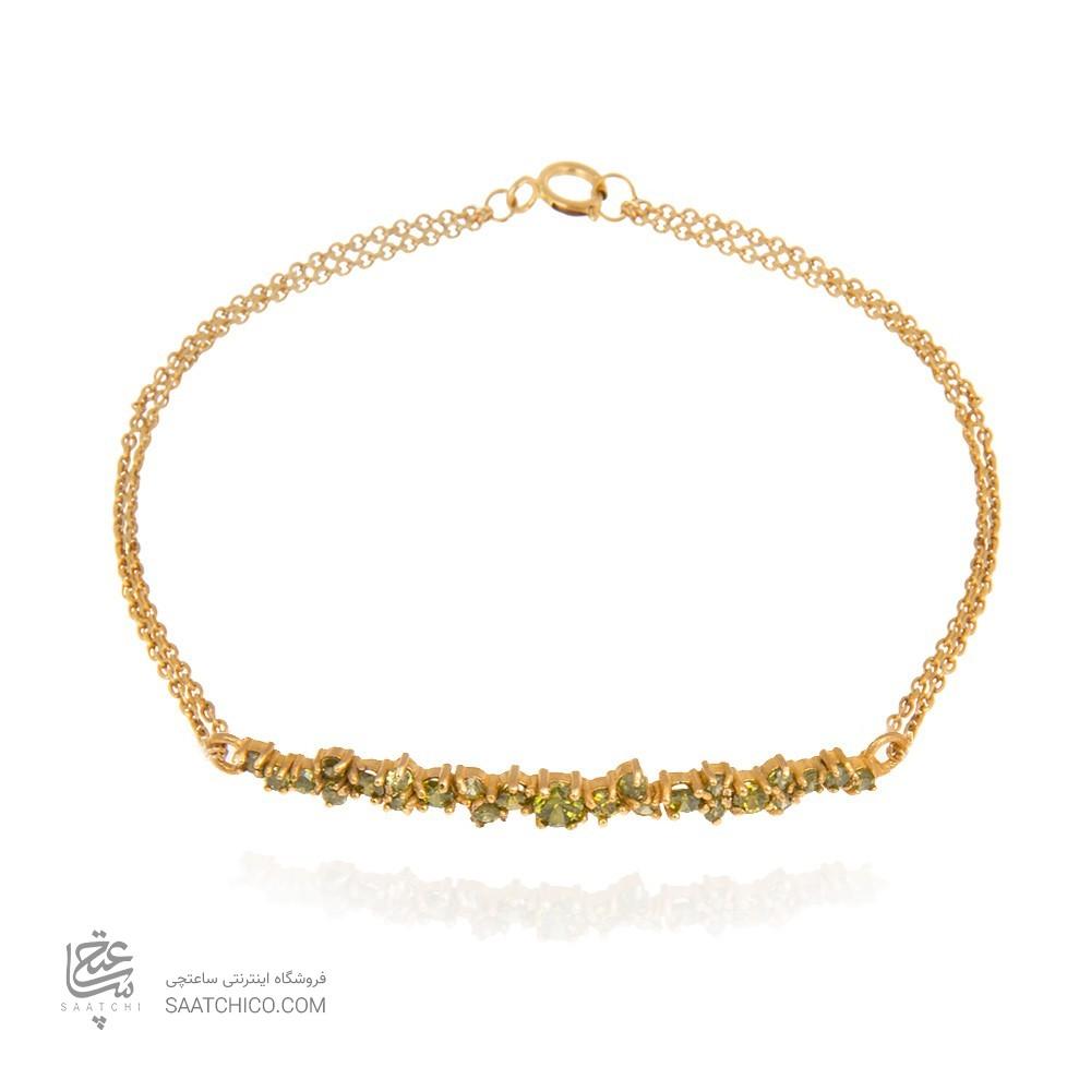 دستبند طلا زنانه با نگین به رنگ سبز پریدوت کد cb324g