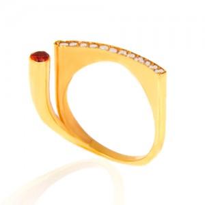 انگشتر طلا زنانه با نگین های cz کد cr305