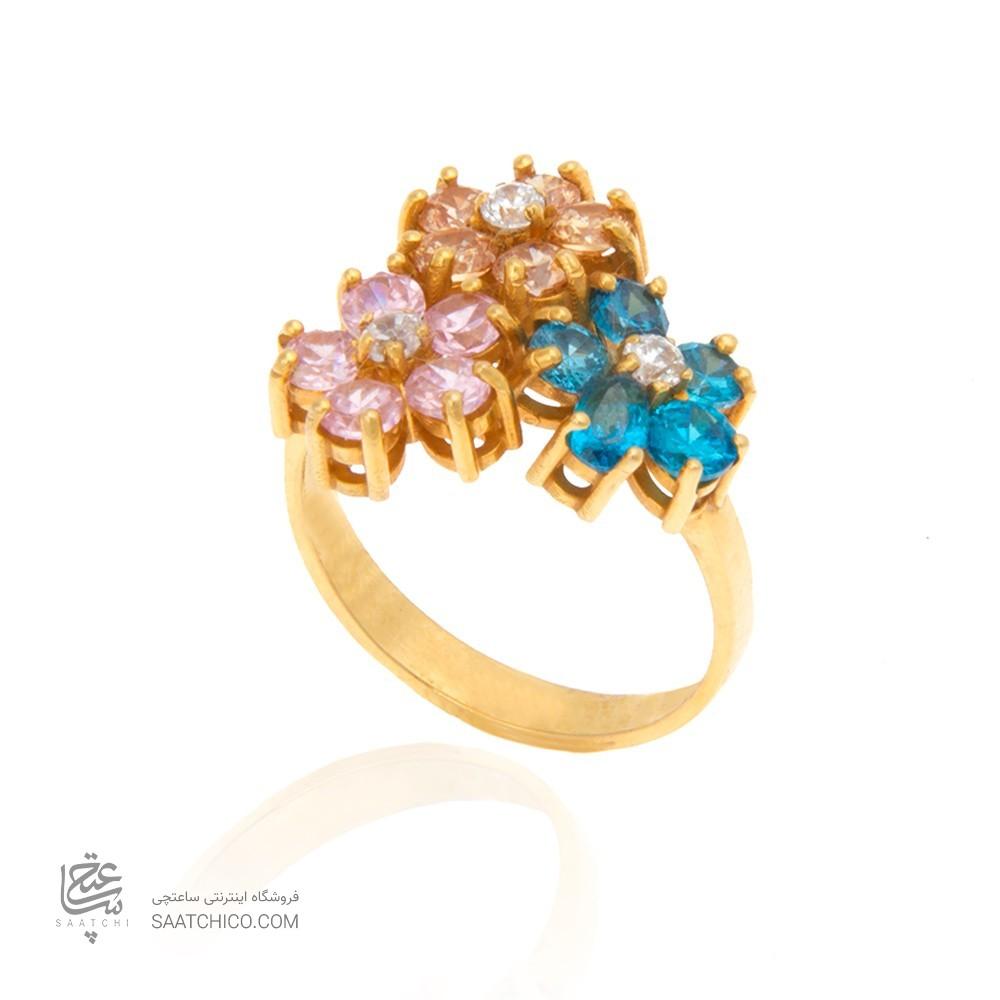 انگشتر طلا زنانه طرح سه گل با نگین کد cr316