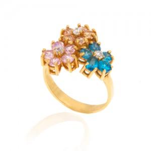 انگشتر طلا زنانه طرح سه گل با نگین های cz کد cr316