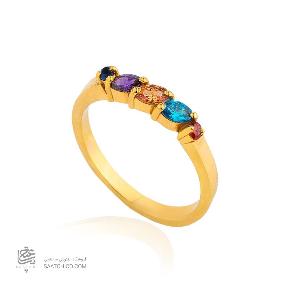 انگشتر طلا زنانه مولتی کالر با نگین های cz کد cr374