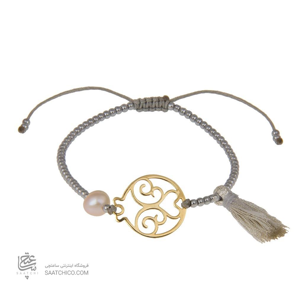 دستبند طلا با سنگ حدید طرح انار یلدایی کد xb907