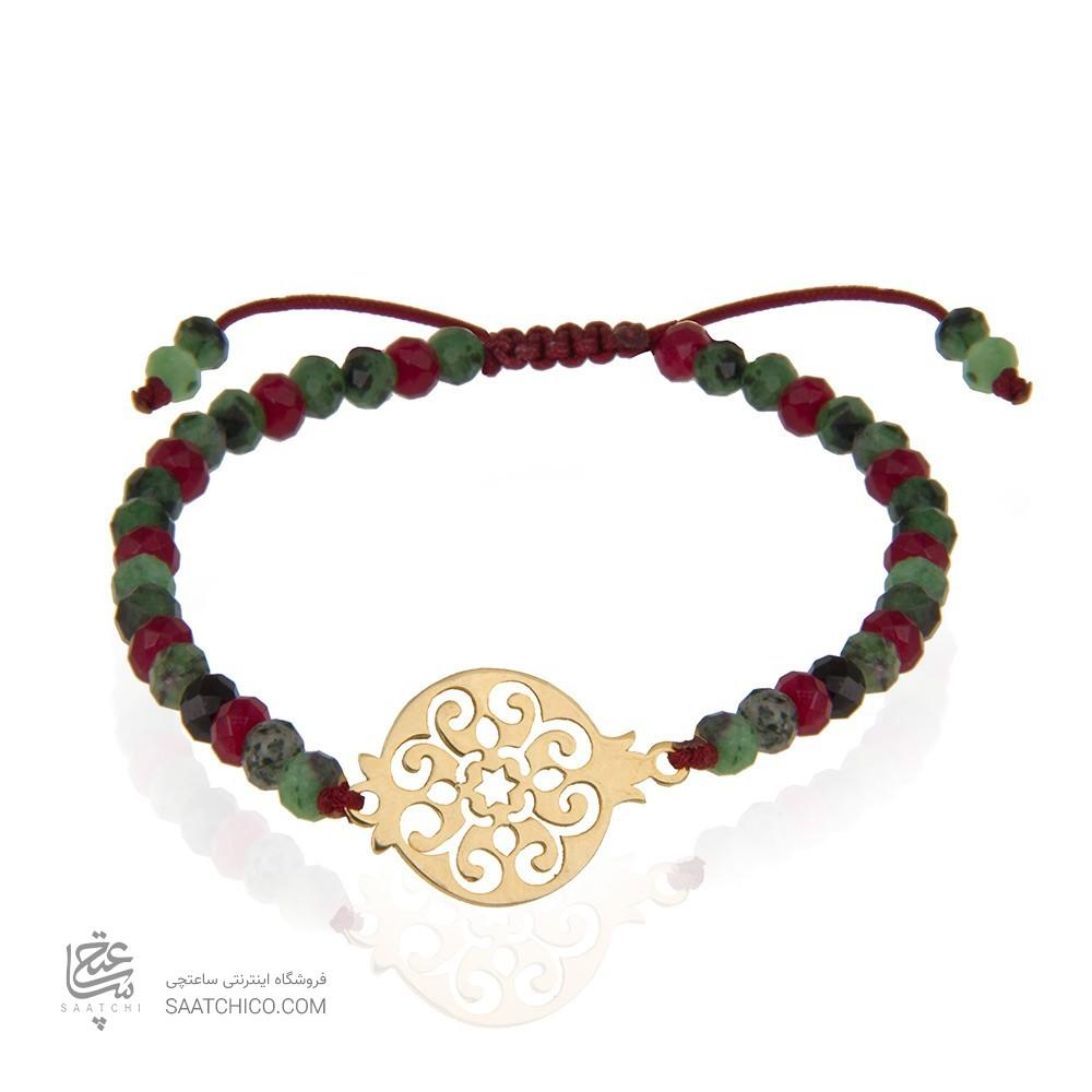 دستبند طلا با سنگ گارنت طرح یلدایی کد xb909