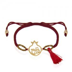 دستبند طلا با بافت طرح انار و عشق کد xb912