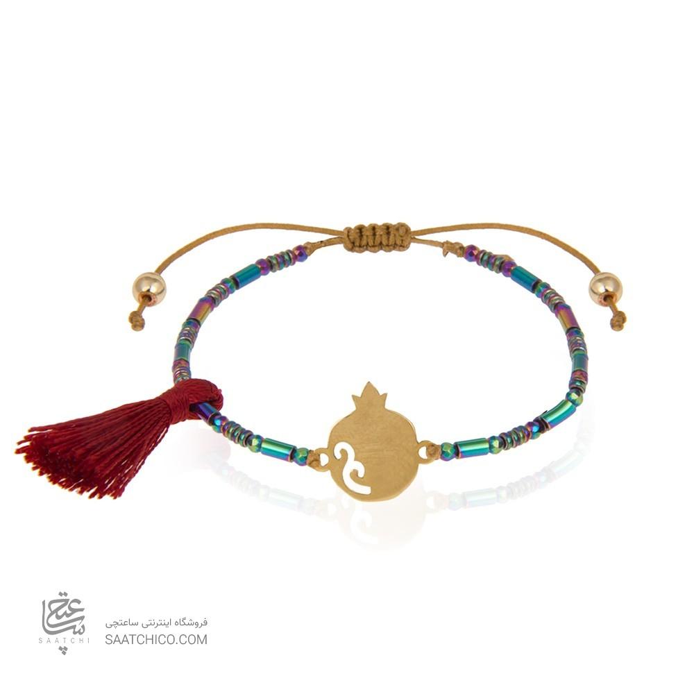 دستبند طلا با سنگ حدید طرح انار یلدا کد xb913