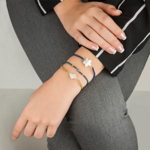 دستبند طلا زنانه با صدف و پولک چشم نظر کد xb915