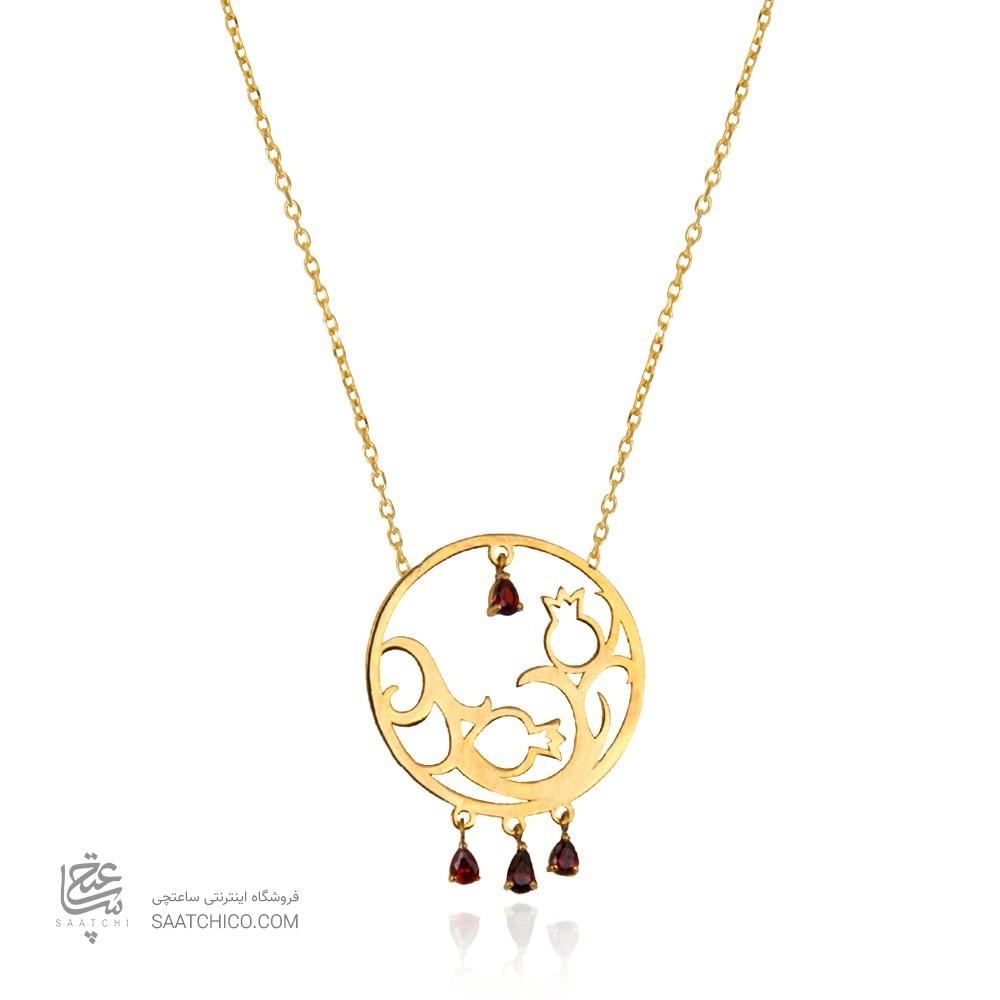 گردنبند طلا زنانه طرح دایره و انار یلدا با آویز اشک قرمز کد LN805