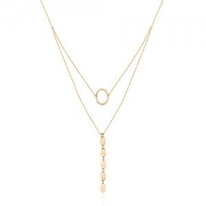 گردنبند دو لایه طلا زنانه کد XN302