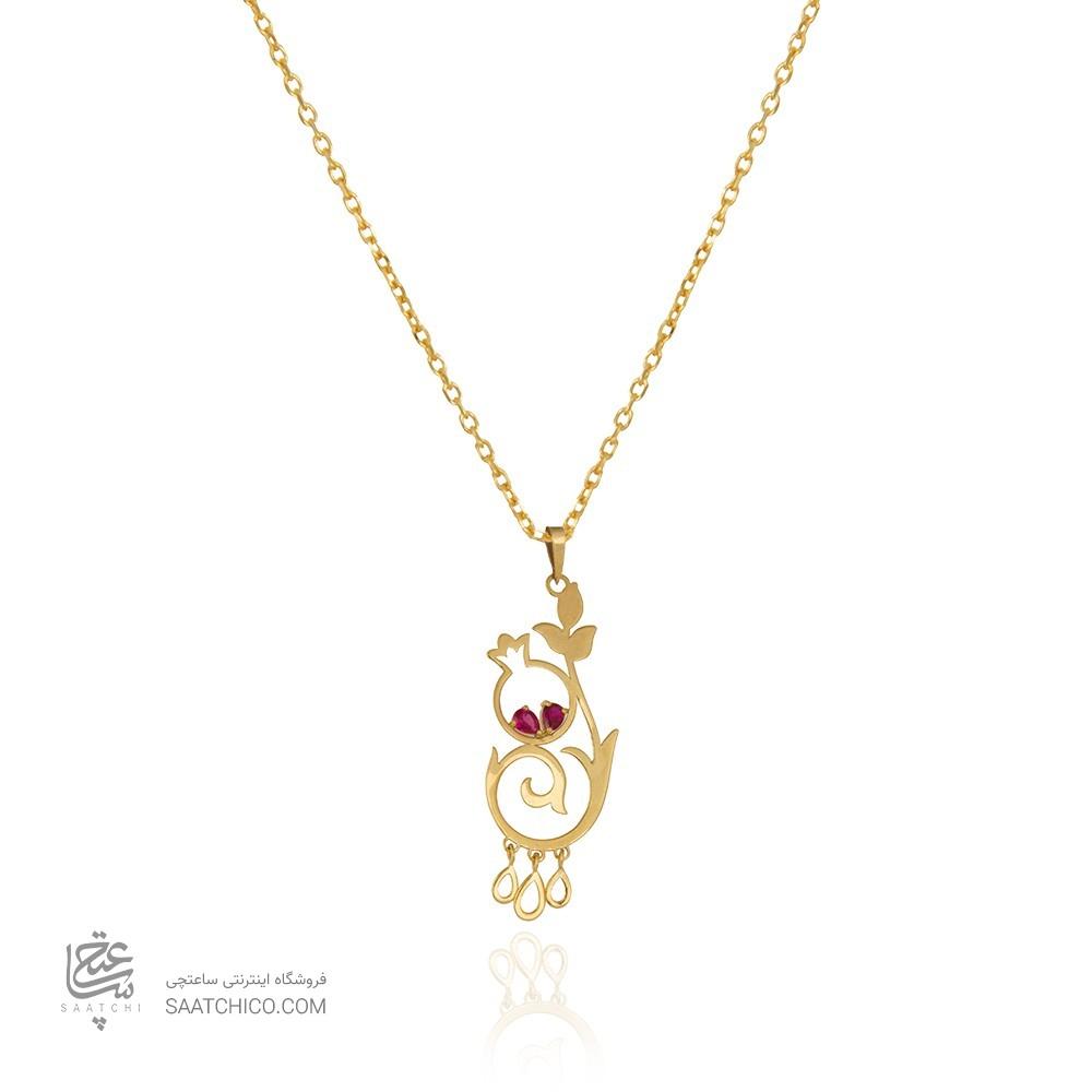 آویز طلا طرح گل انار یلدا با نگینهای قرمز CZ کد LP619