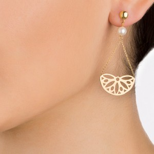 گوشواره طلا زنانه طرح گل با مروارید کد xe225