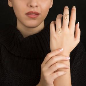 انگشتر طلا زنانه با آویز انار یلدا کد cr375