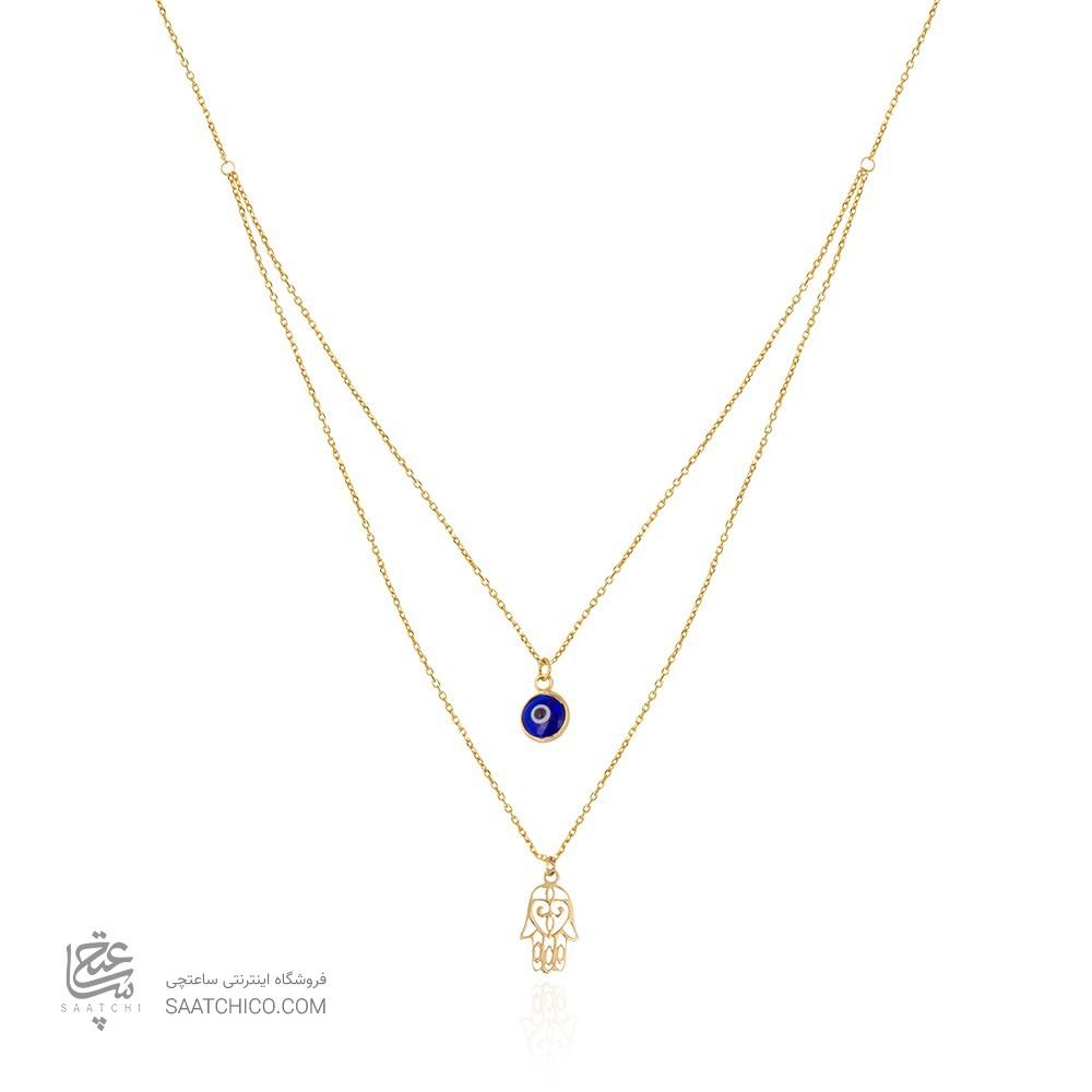 گردنبند طلا زنانه طرح دست فاطیما و چشم نظر کد cn362