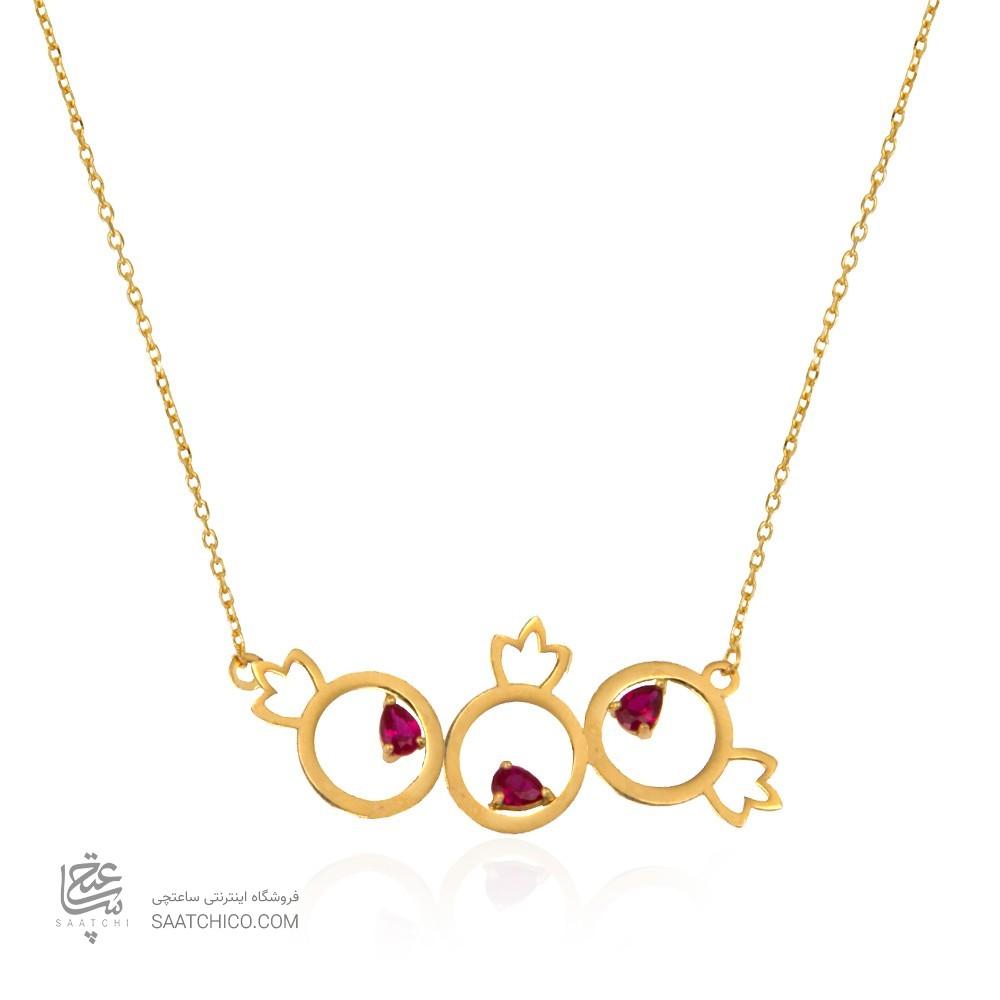 گردنبند طلا زنانه طرح یلدایی با نگین های cz کد ln806