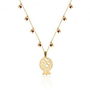 گردنبند طلا انار با زنجیر مزین به گوی طلا و سنگ گارنت کد XN301