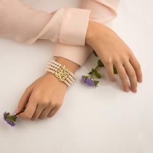 دستبند مروارید با پلاک طلا طرح شعر کد XB709