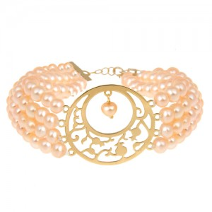 دستبند طلا زنانه طرح یلدایی با مروارید کد xb710