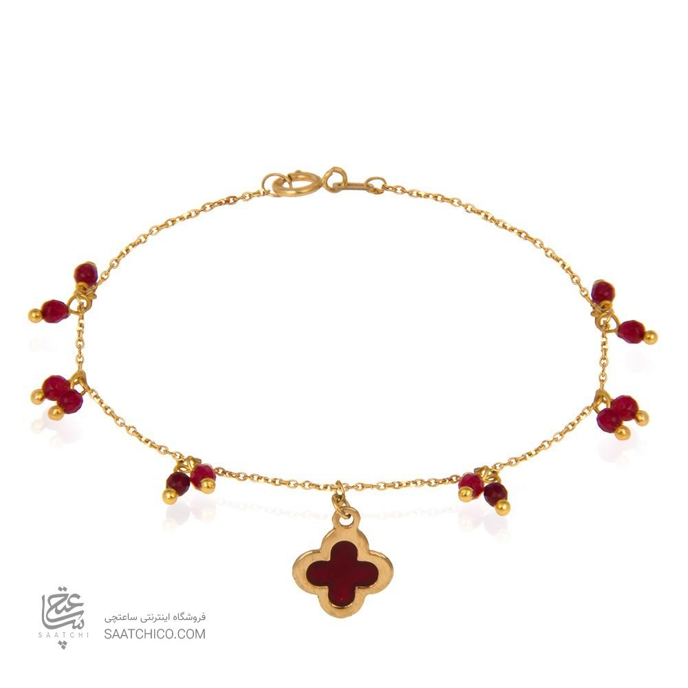دستبند طلا زنانه با آویز گل چهار پر ونکلیف و سنگ کد xb922