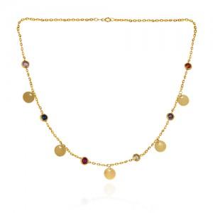 گردنبند طلا زنانه با پولک و مارکوی رنگی کد cn363