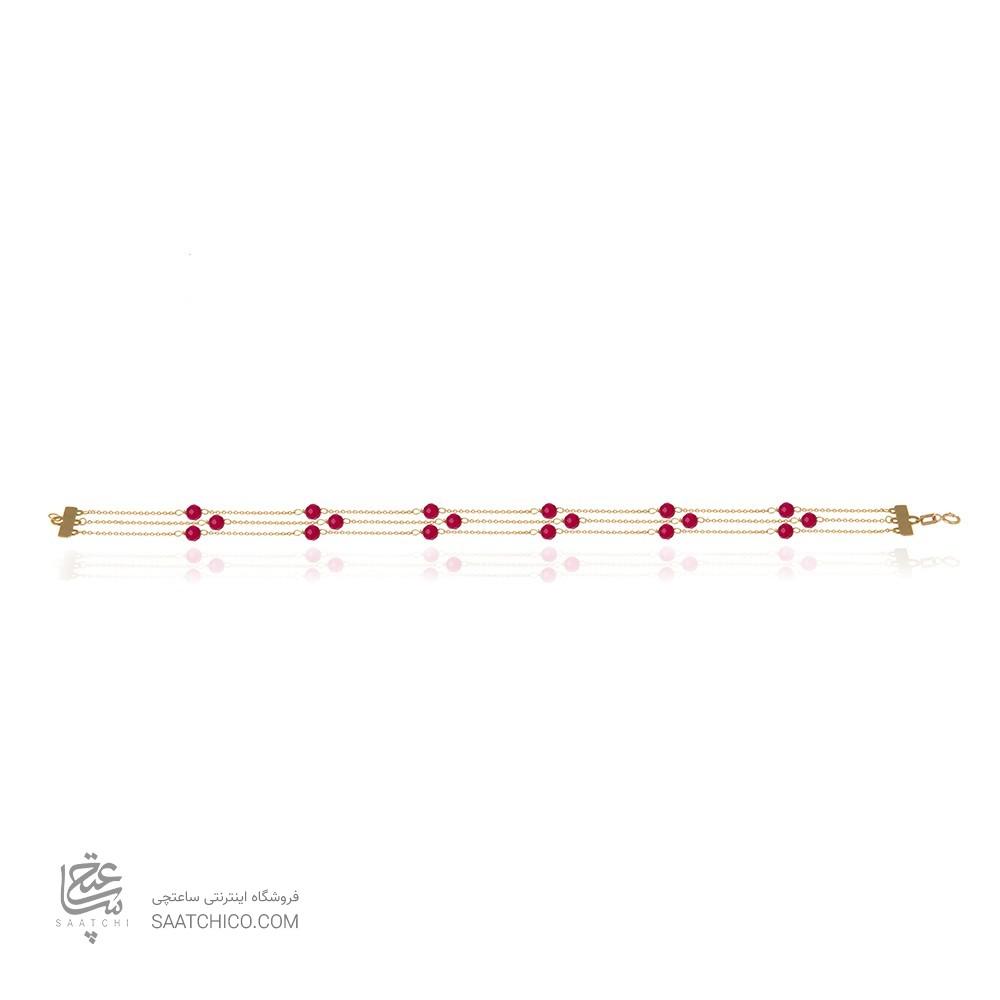 دستبند طلا سه رج با سنگ  گارنت XB918